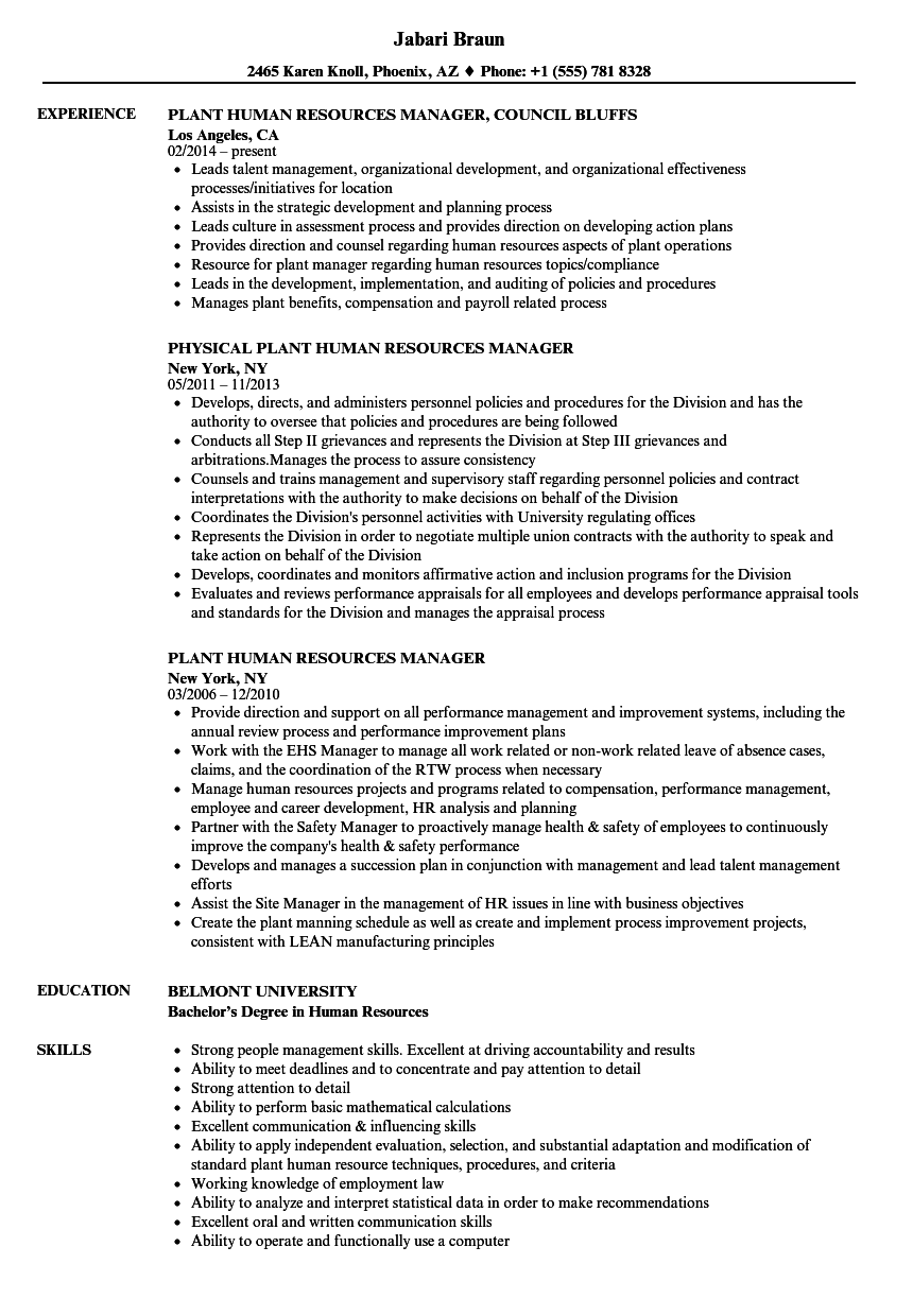 Plant Human Resources Manager Resume Samples Velvet Jobs