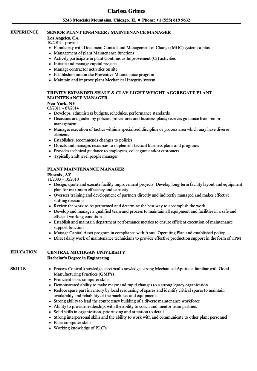 Maintenance Director Resume Experience Statements