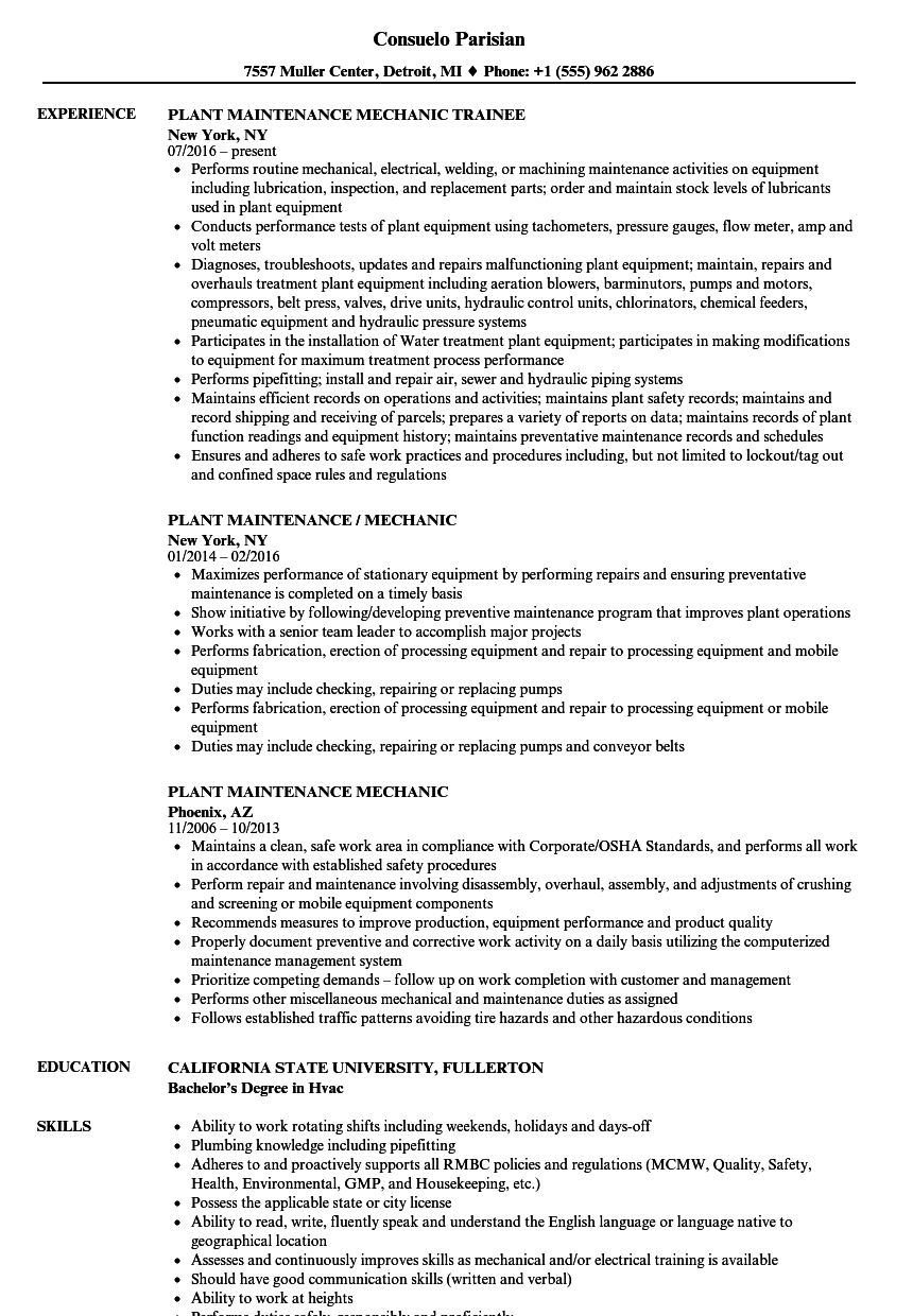 Plant Maintenance Mechanic Resume Samples | Velvet Jobs