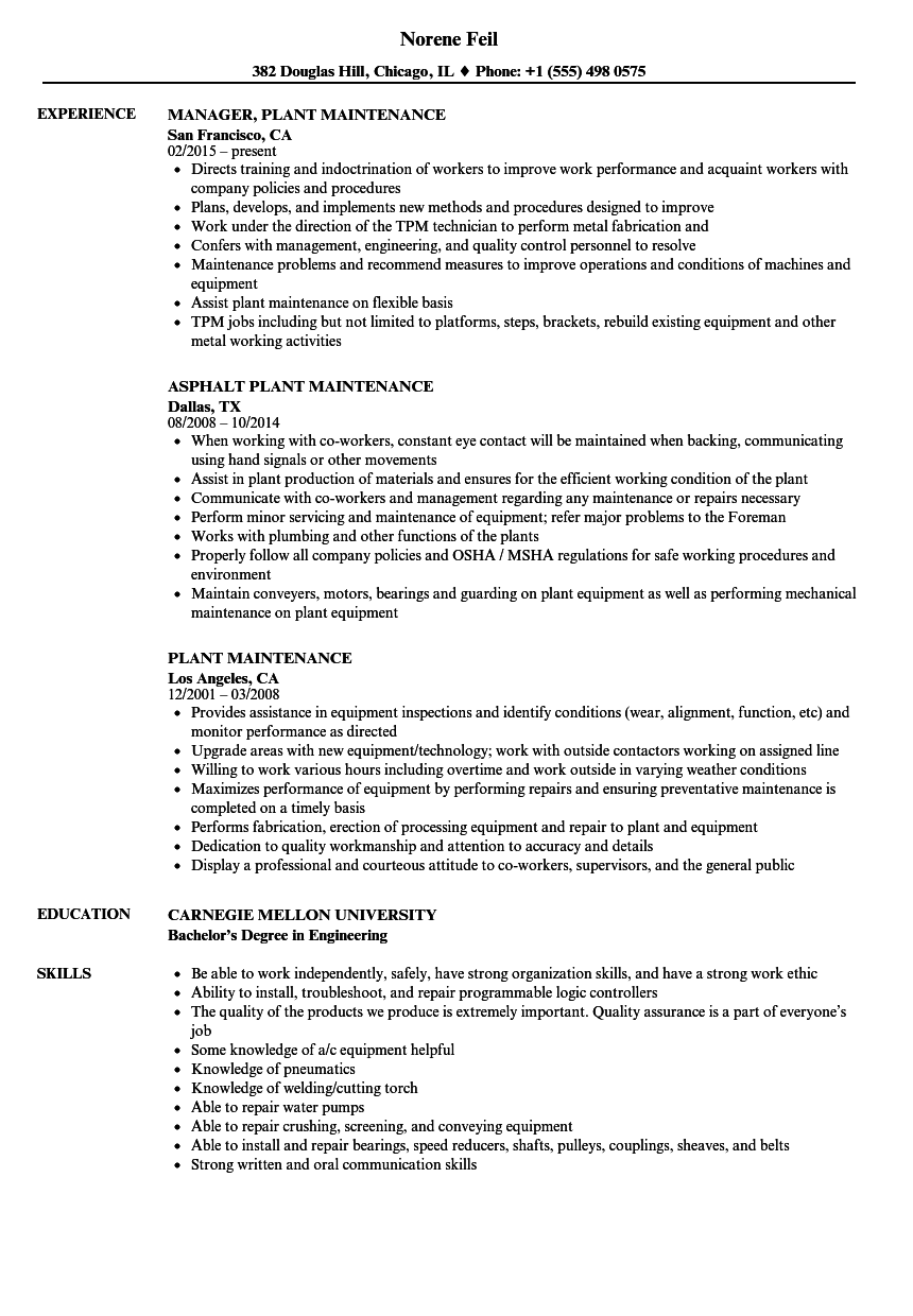 Download Plant Maintenance Resume Sample As Image File  Maintenance Resume Sample