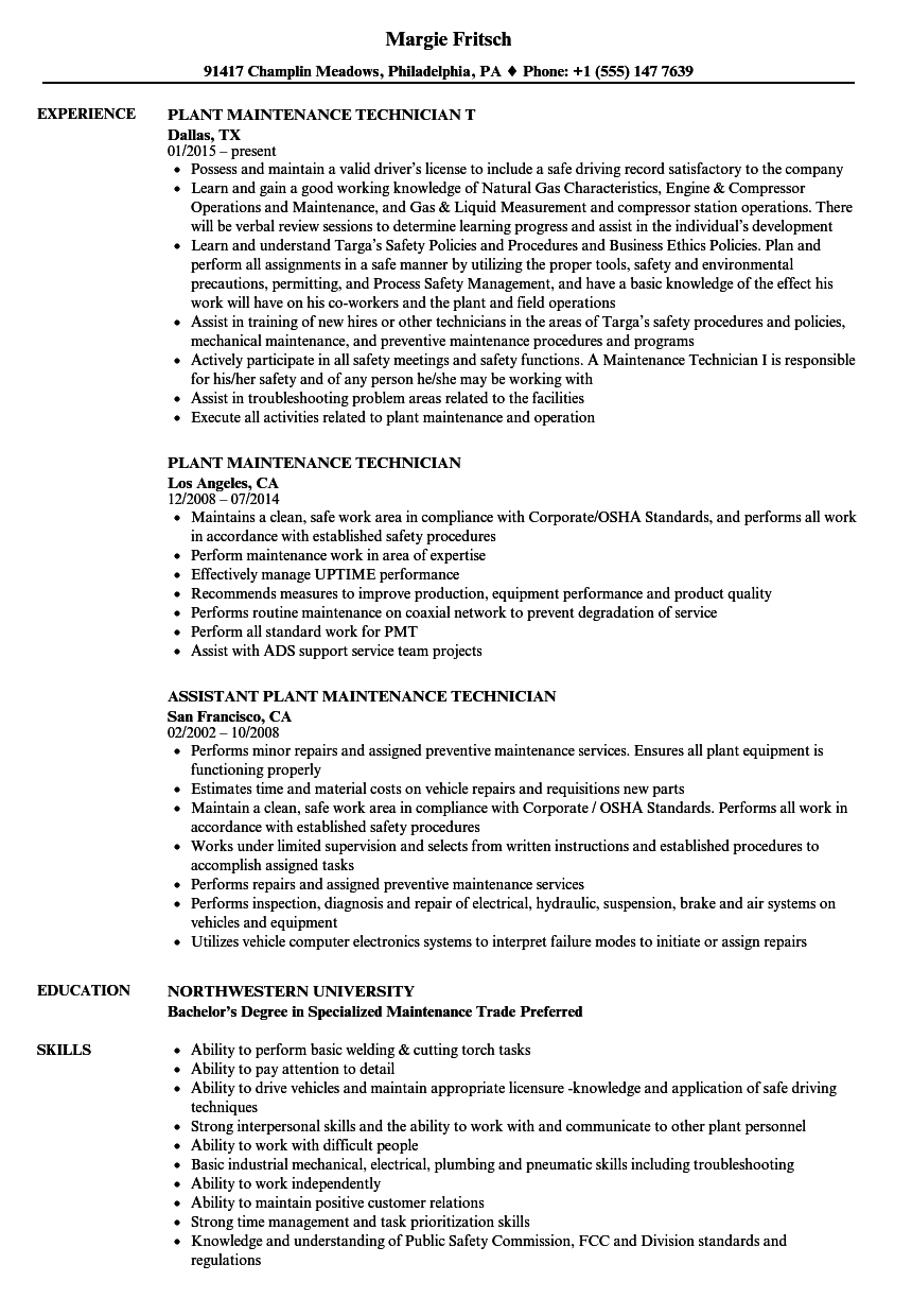 Download Plant Maintenance Technician Resume Sample As Image File