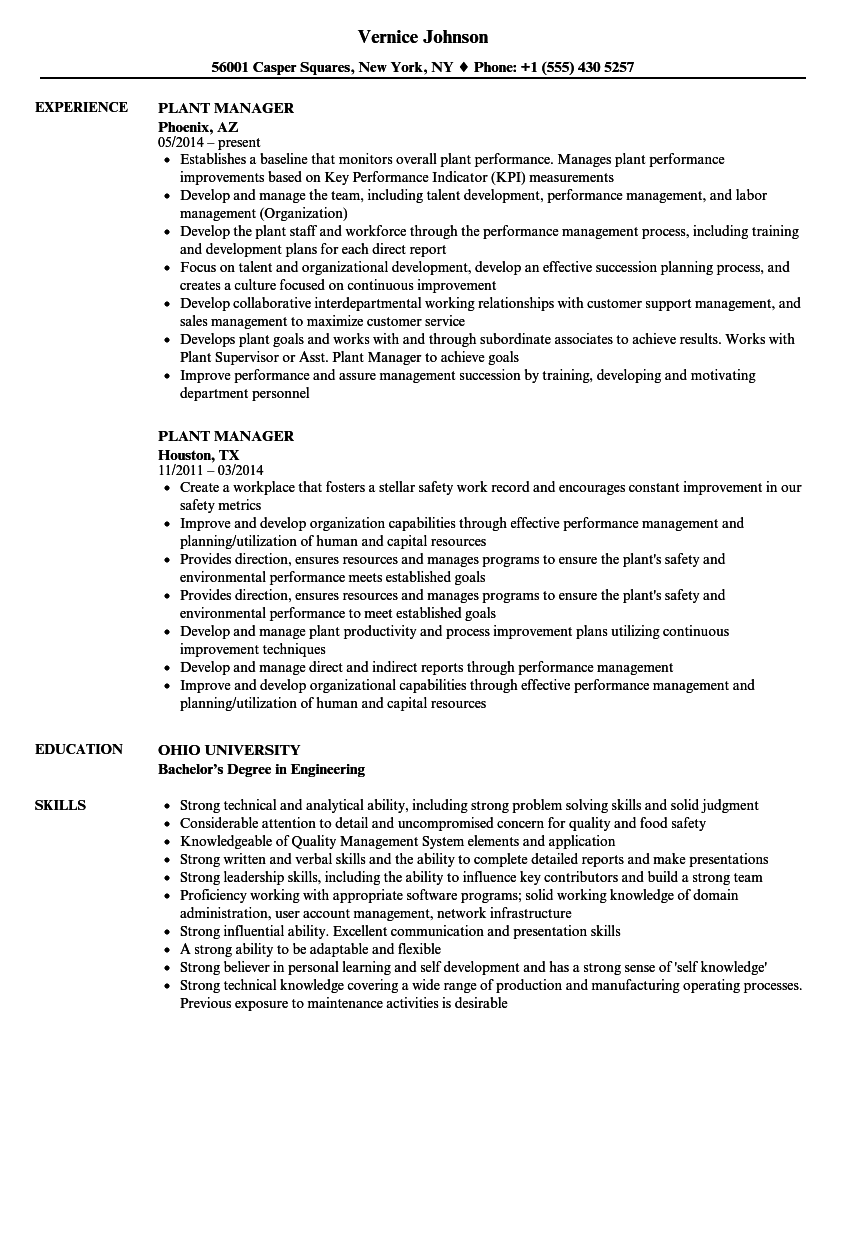 Plant Manager Resume Samples | Velvet Jobs