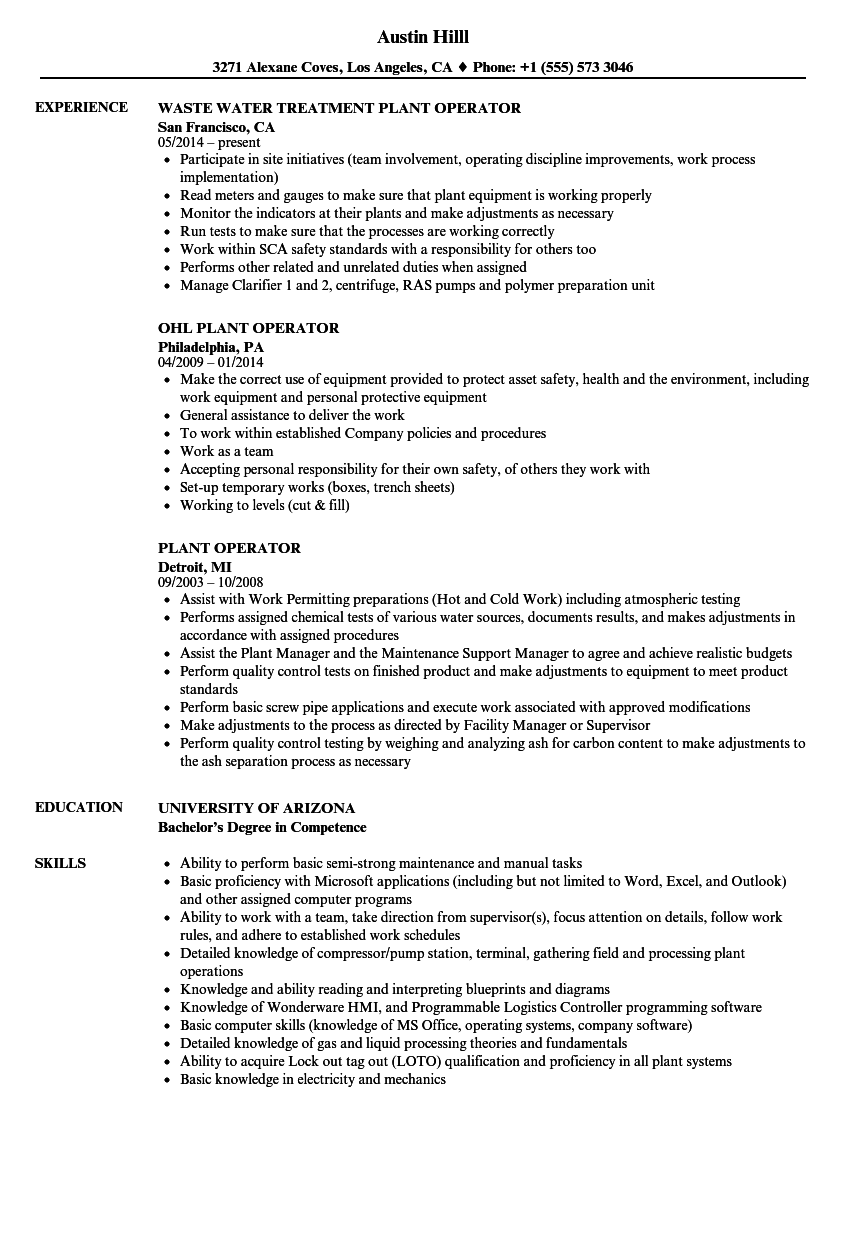 Download Plant Operator Resume Sample As Image File