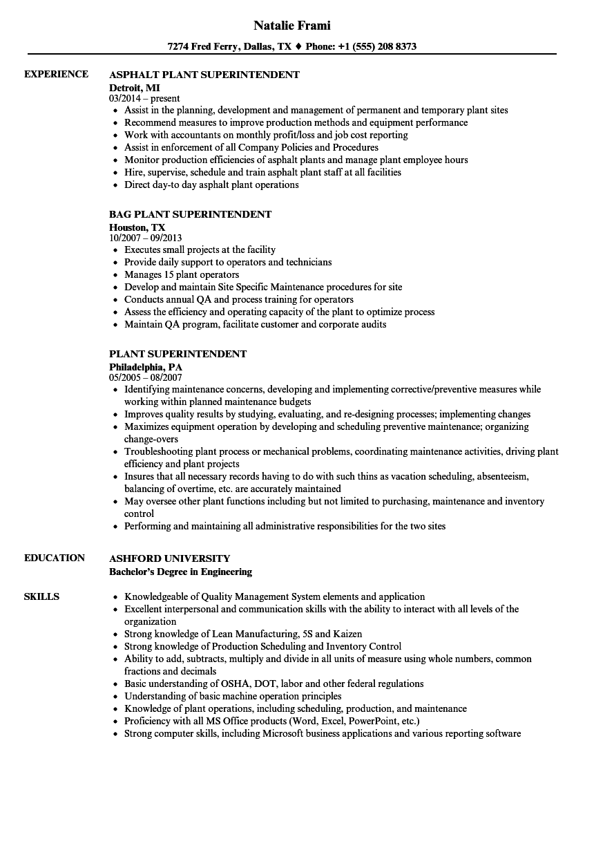 Plant Superintendent Resume Samples Velvet Jobs