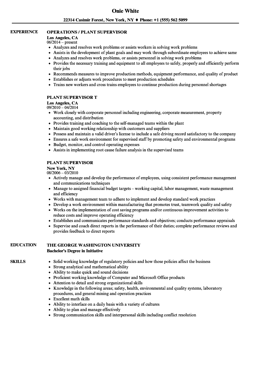 Plant Supervisor Resume Samples | Velvet Jobs