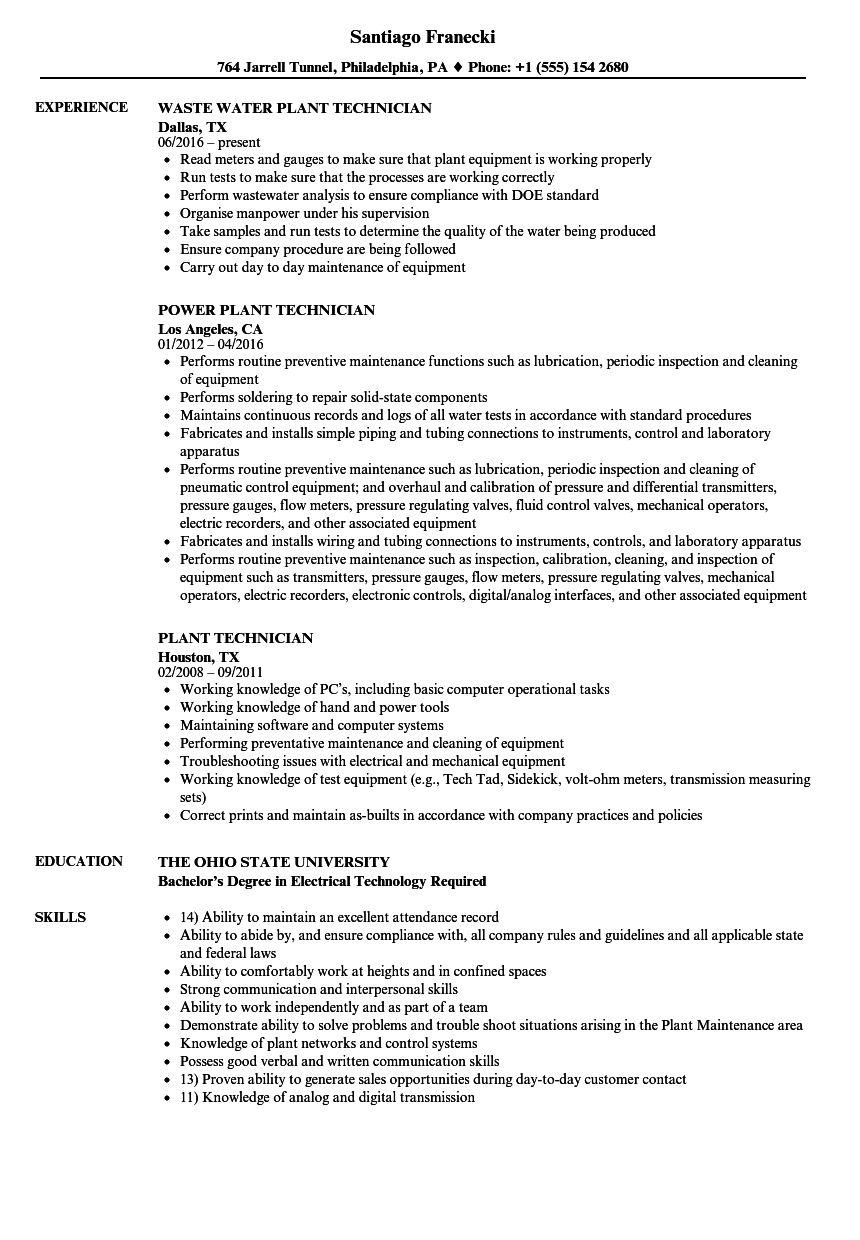 Plant Technician Resume Samples | Velvet Jobs