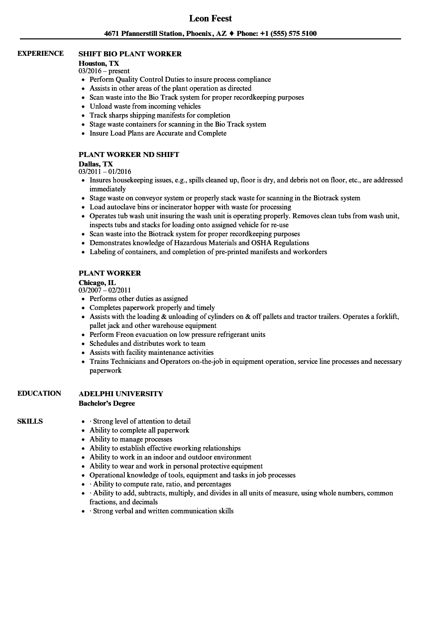 download plant worker resume sample as image file