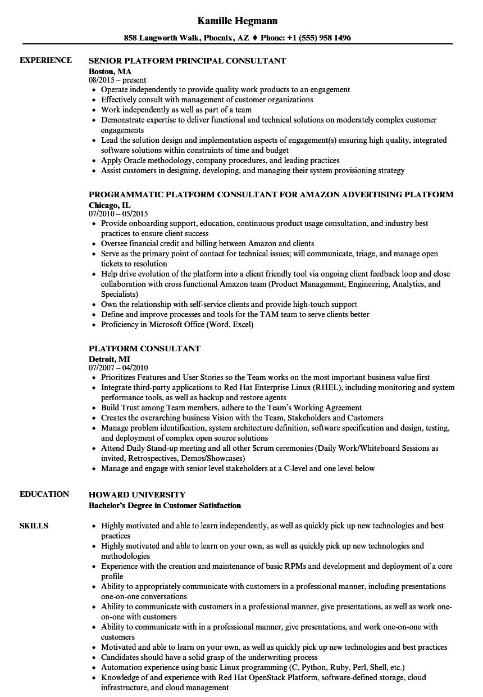 platform consultant resume samples