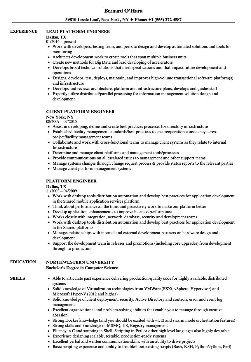 Platform Engineer Resume Samples Velvet Jobs