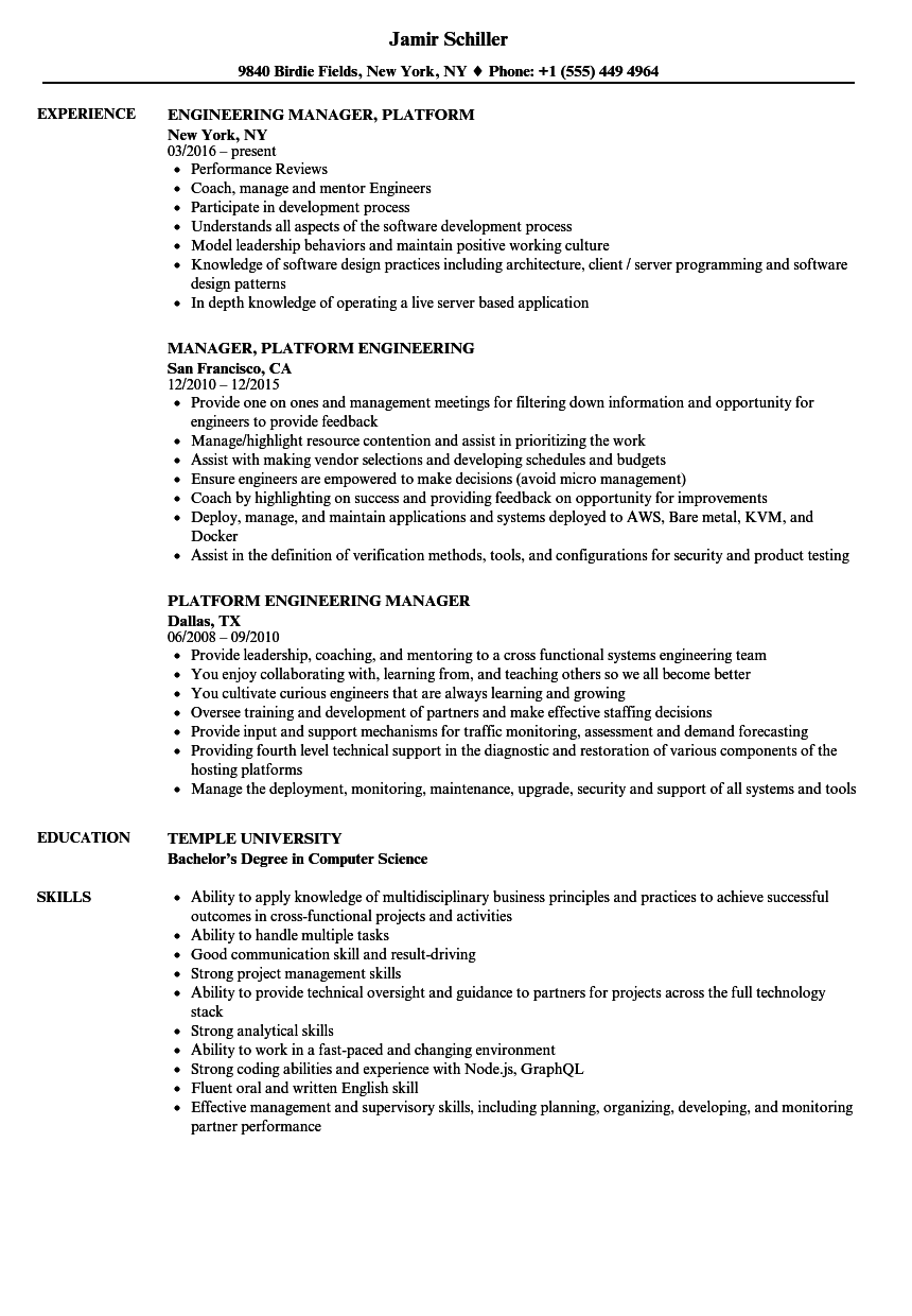 platform engineering manager resume samples