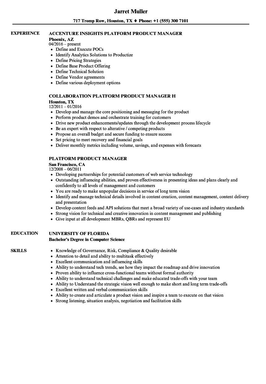 download platform product manager resume sample as image file - Product Manager Resume