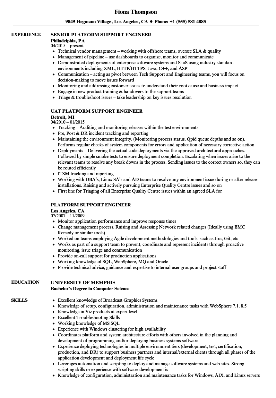 platform support engineer resume samples