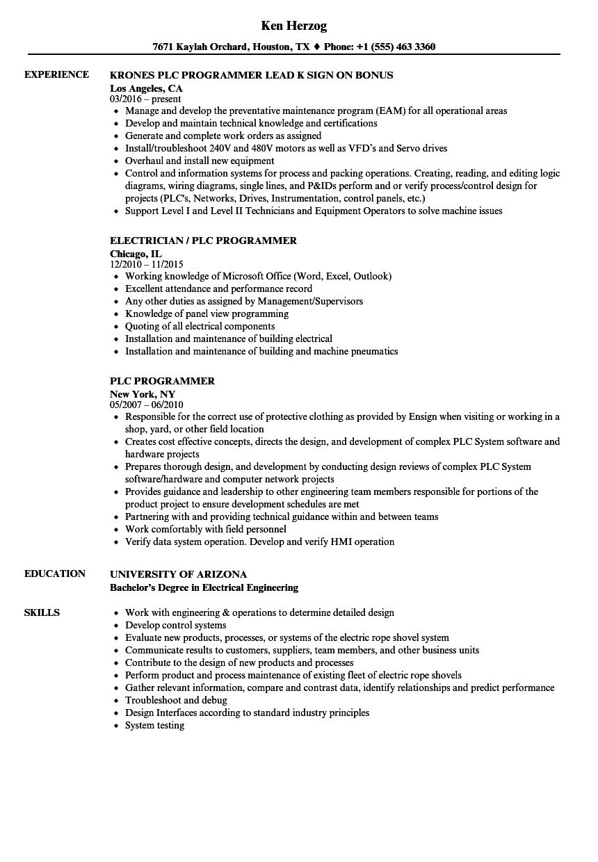 PLC Programmer Resume Samples | Velvet Jobs