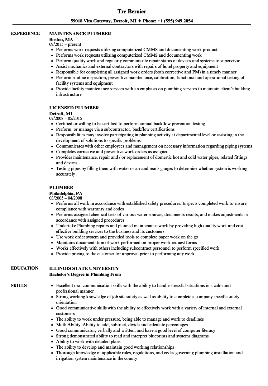 Plumber Resume Samples | Velvet Jobs