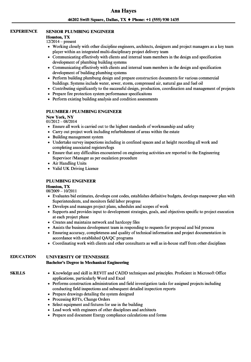 Plumbing Engineer Resume Samples | Velvet Jobs