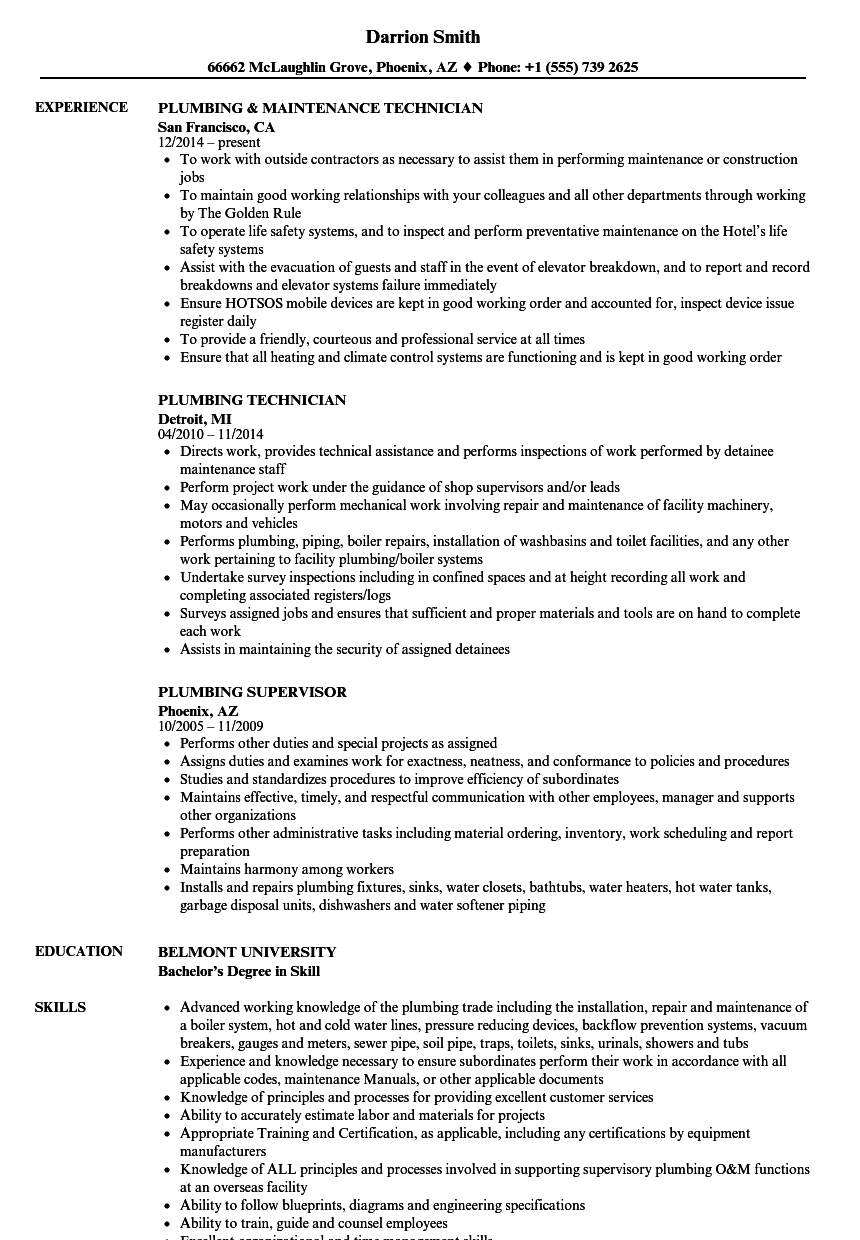 plumbing resume samples velvet jobs