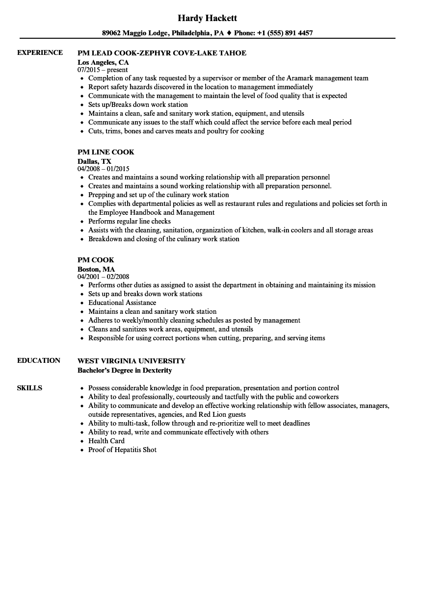 pm cook resume samples