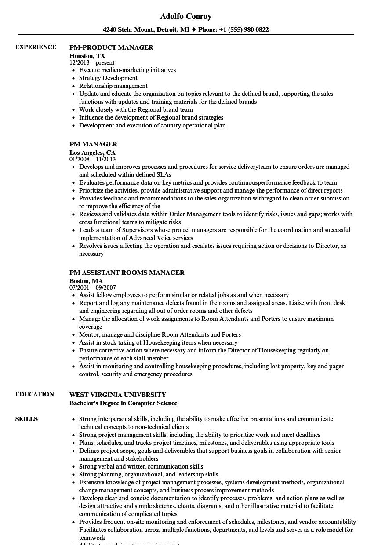 PM Manager Resume Samples | Velvet Jobs