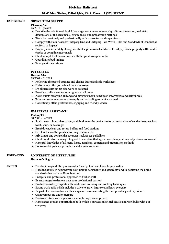 Pm Server Resume Samples Velvet Jobs