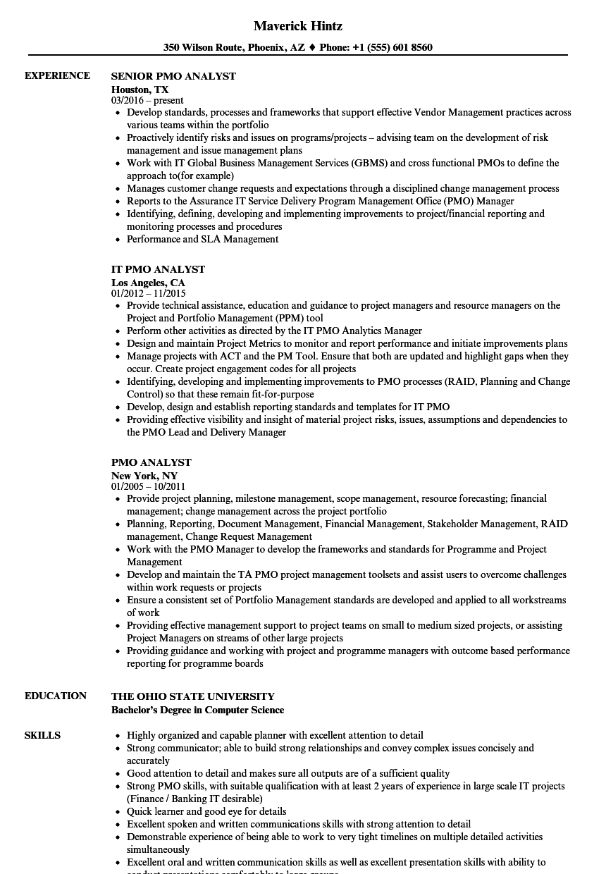 pmo analyst resume samples