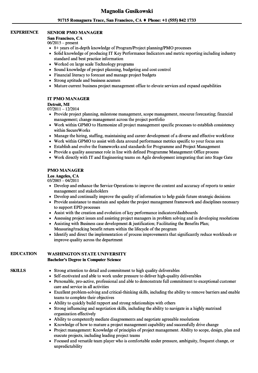 pmo manager resume samples velvet jobs