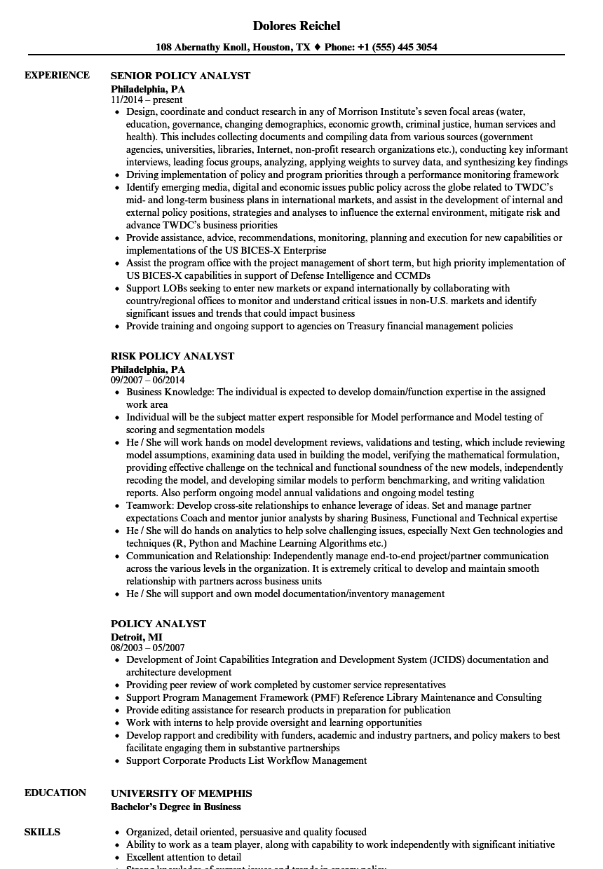 Download Policy Analyst Resume Sample As Image File