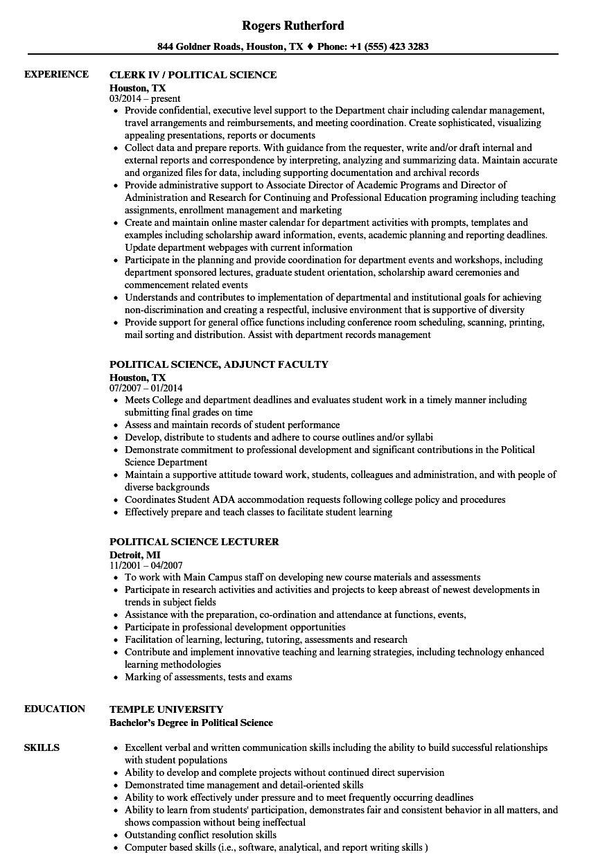 Download Political Science Resume Sample As Image File  Political Resume