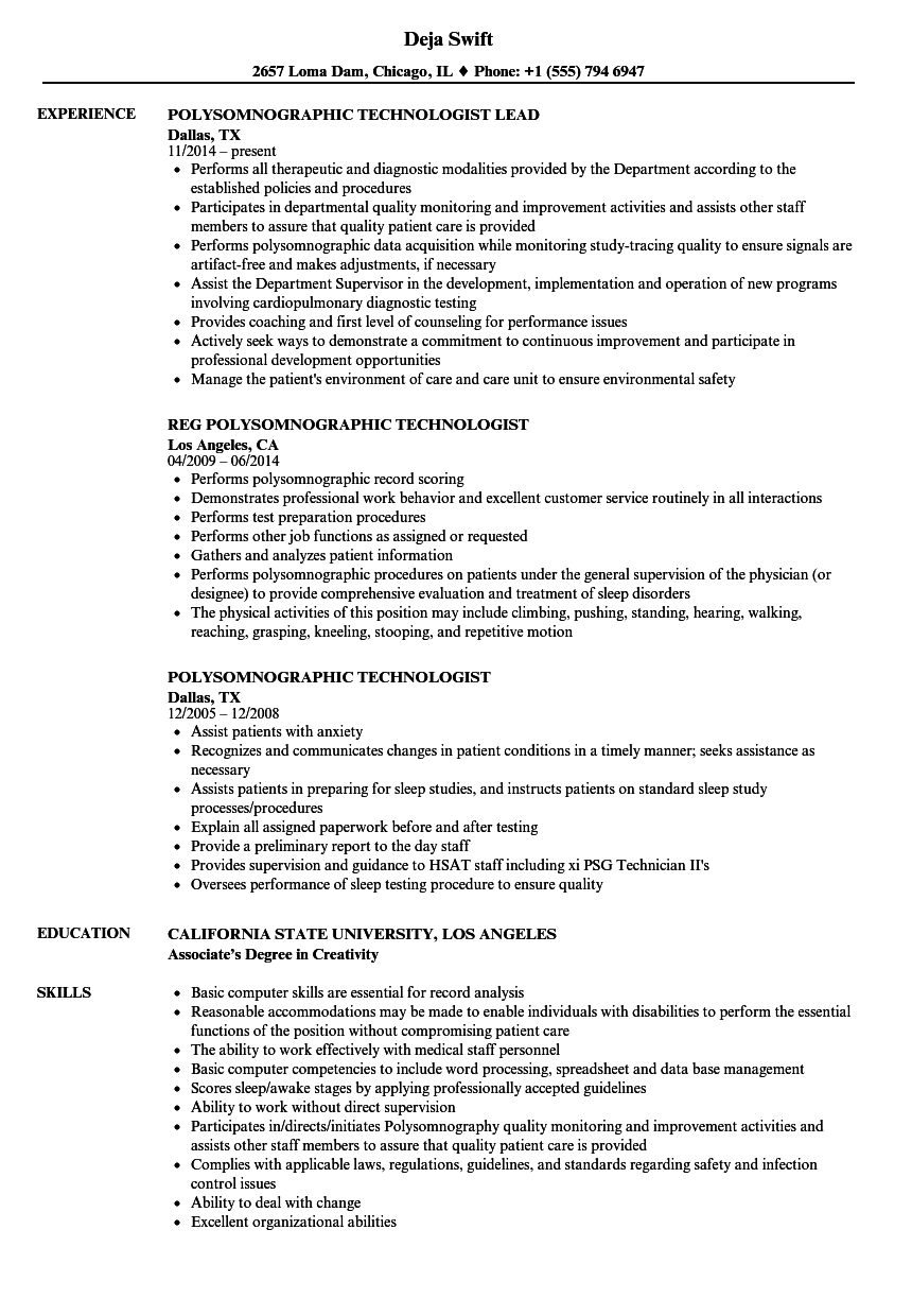 polysomnographic technologist resume samples