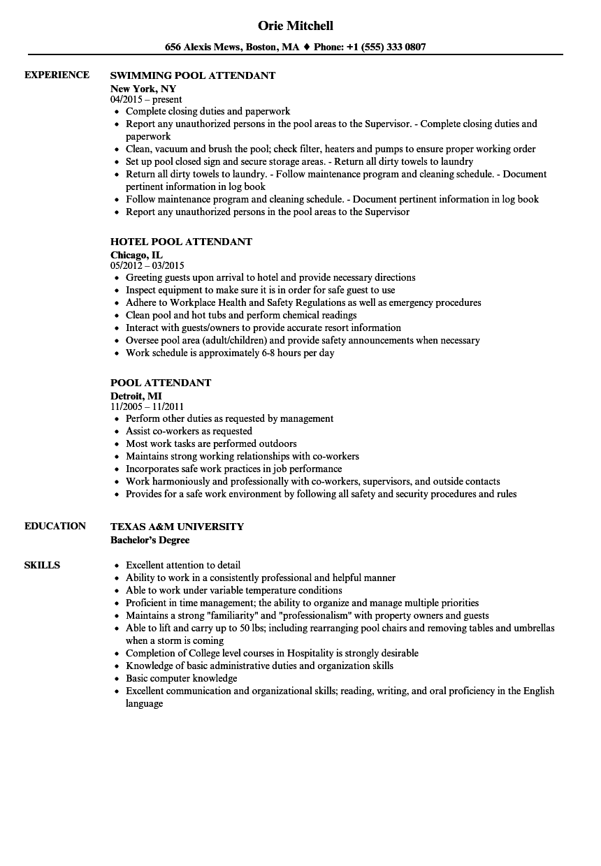 Download Pool Attendant Resume Sample As Image File