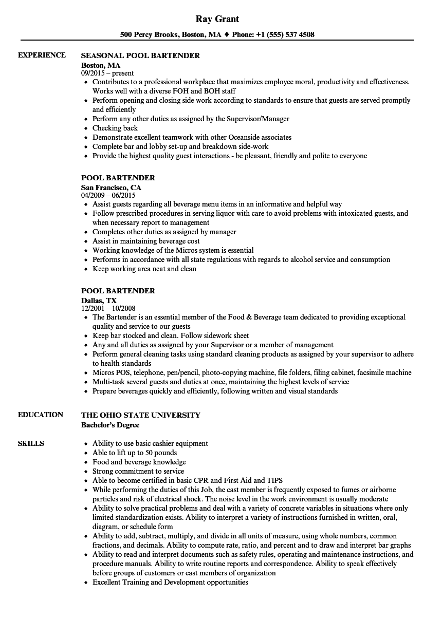 download pool bartender resume sample as image file - Bartender Resume Sample