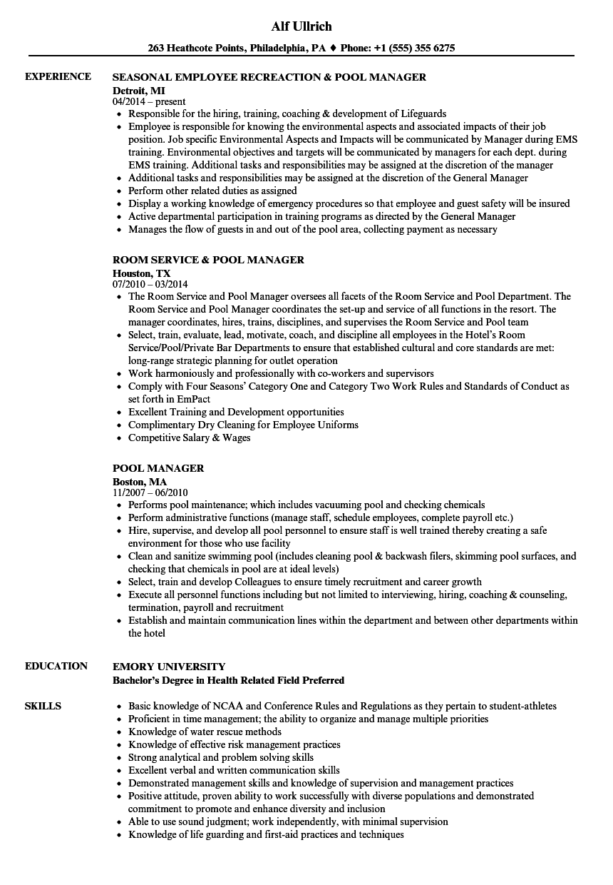 Pool Manager Resume Samples | Velvet Jobs