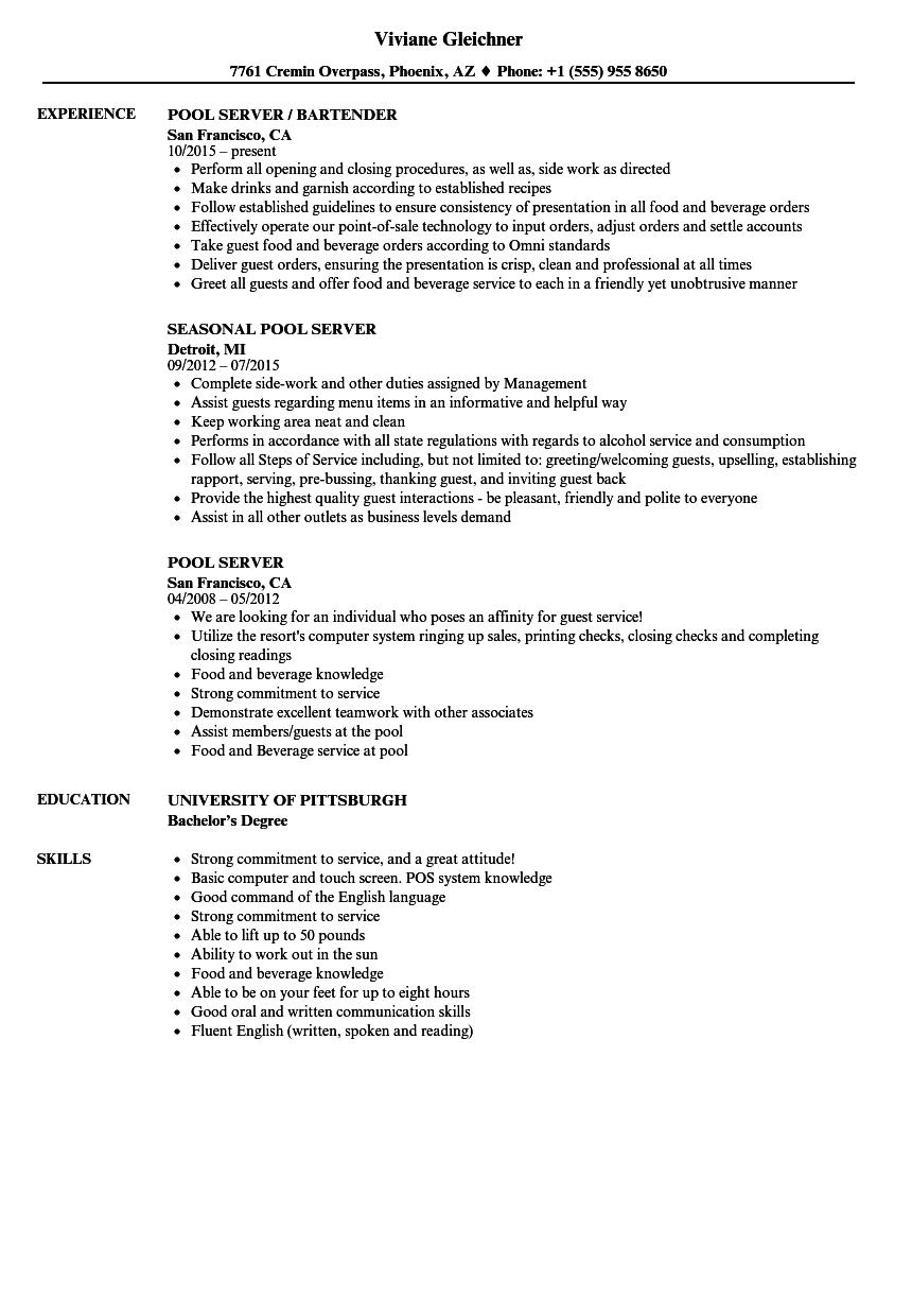 Pool Server Resume Samples | Velvet Jobs