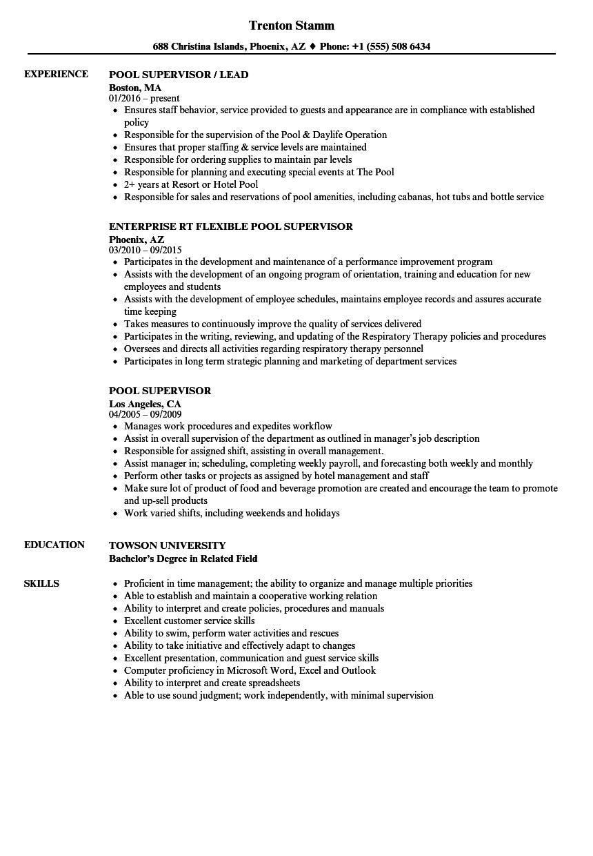 pool supervisor resume samples velvet jobs