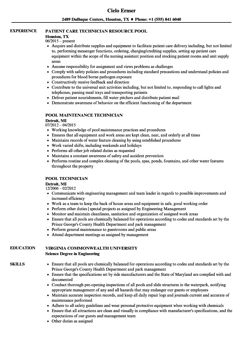 pool technician resume samples