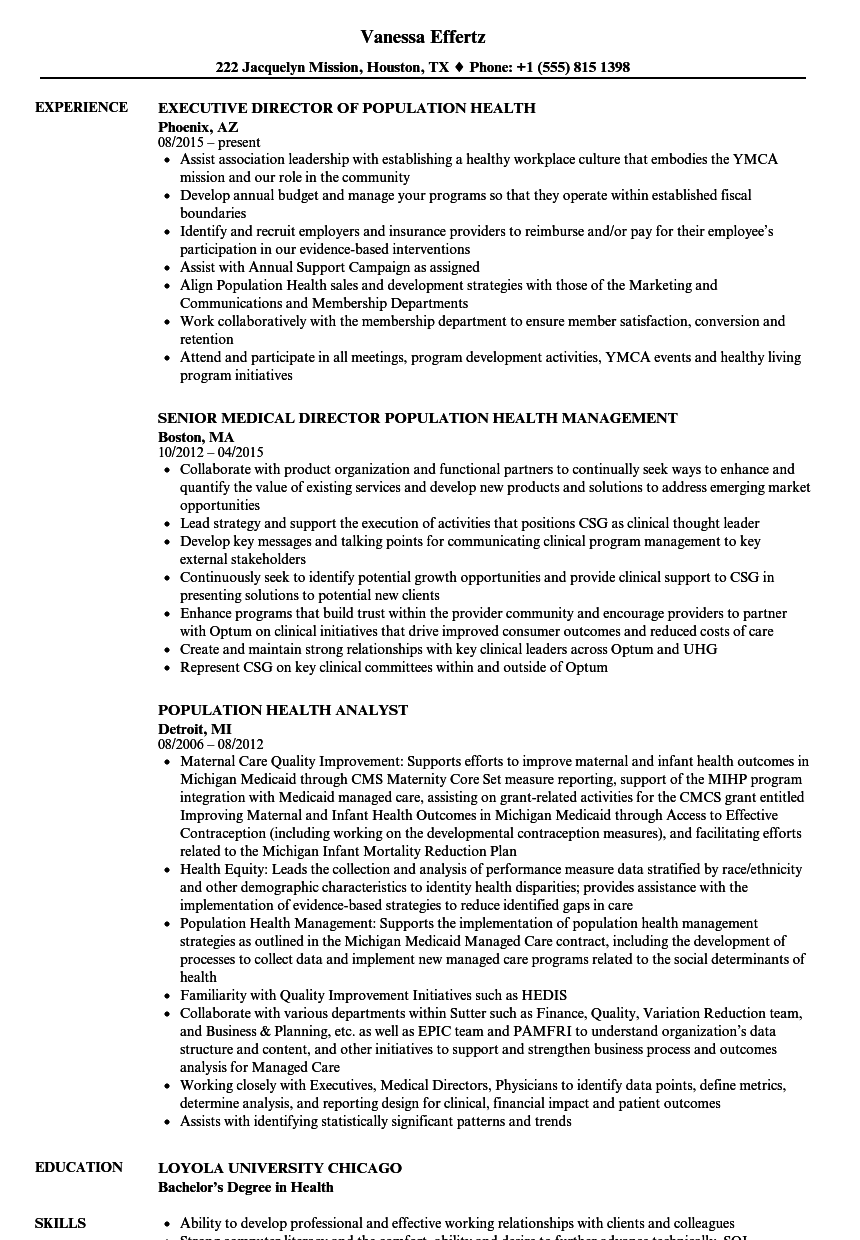 population health resume samples