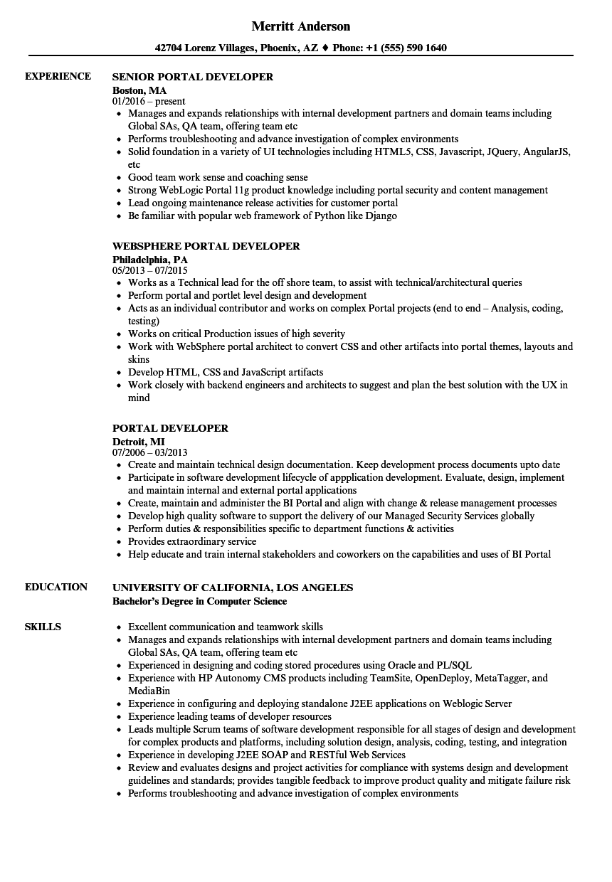 wpf developer resume sample - portal developer resume samples velvet jobs