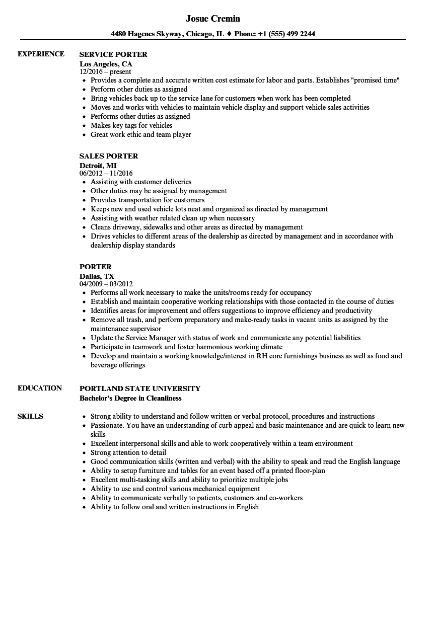 Porter Resume Samples Velvet Jobs