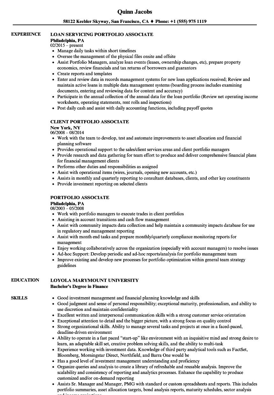 portfolio associate resume samples