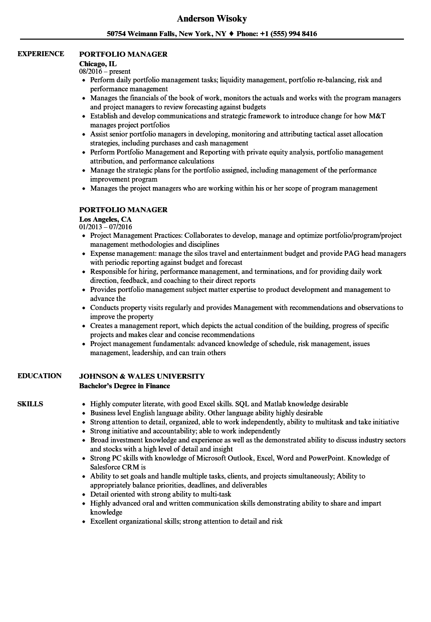 Download Portfolio Manager Resume Sample As Image File