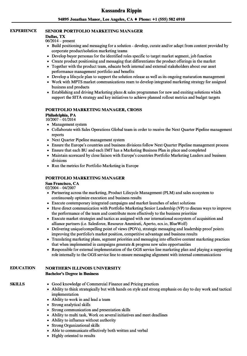 Portfolio Marketing Manager Resume Samples | Velvet Jobs