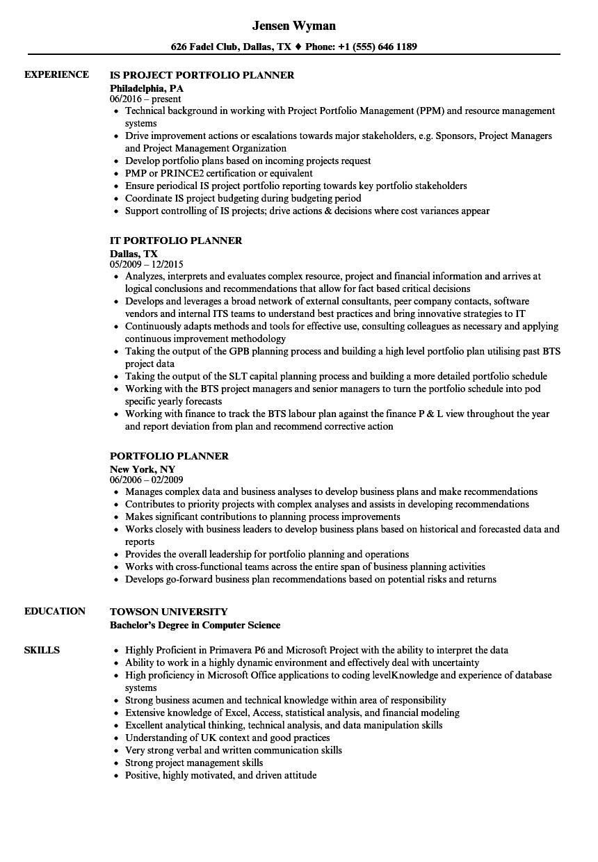 portfolio planner resume samples