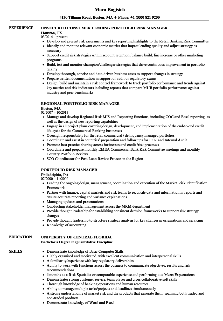 Portfolio Risk Manager Resume Samples | Velvet Jobs
