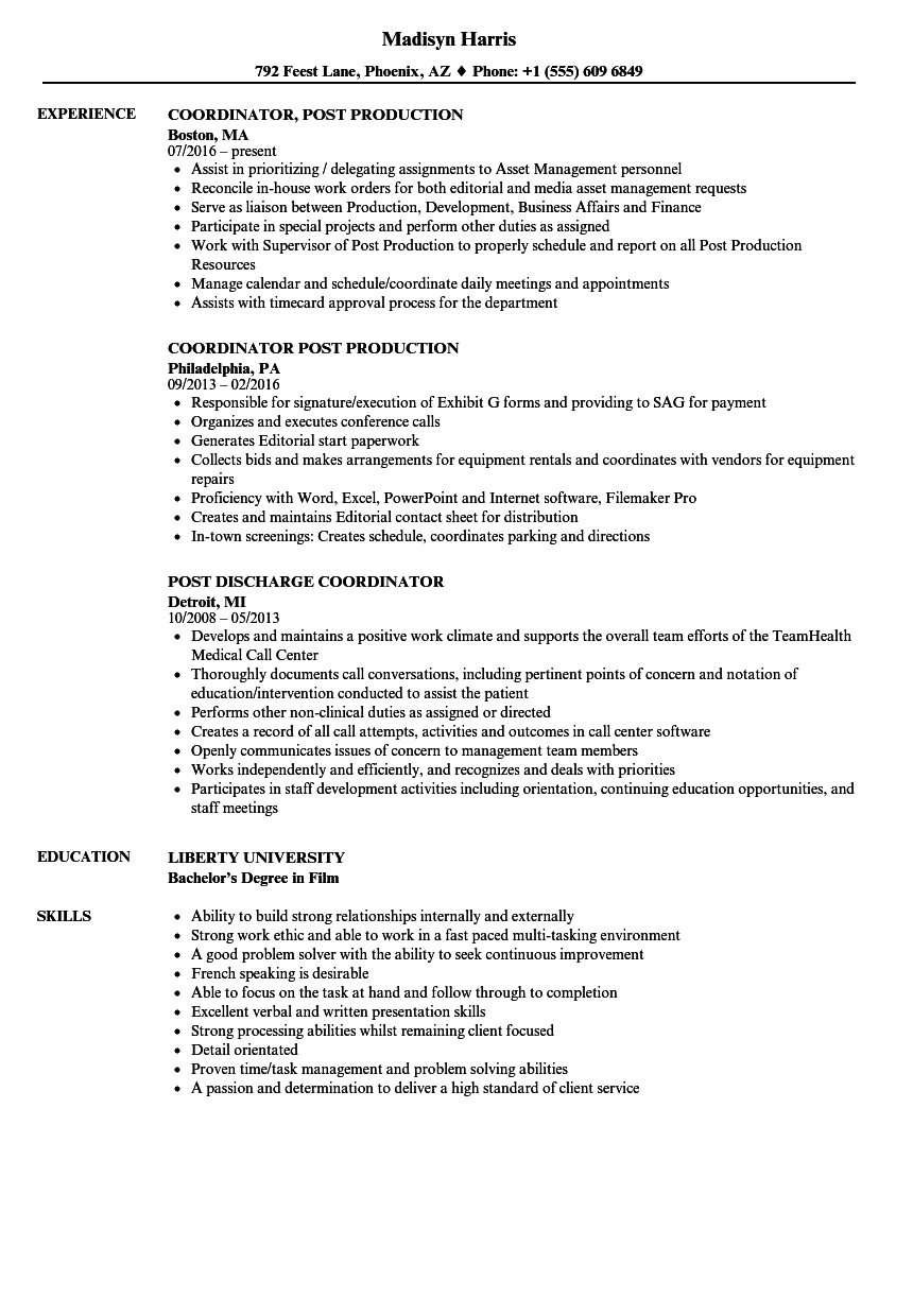 post coordinator resume samples