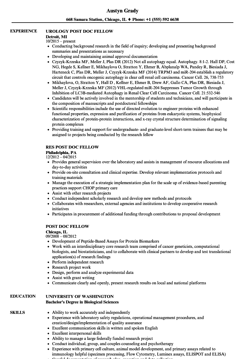 post doc fellow resume samples