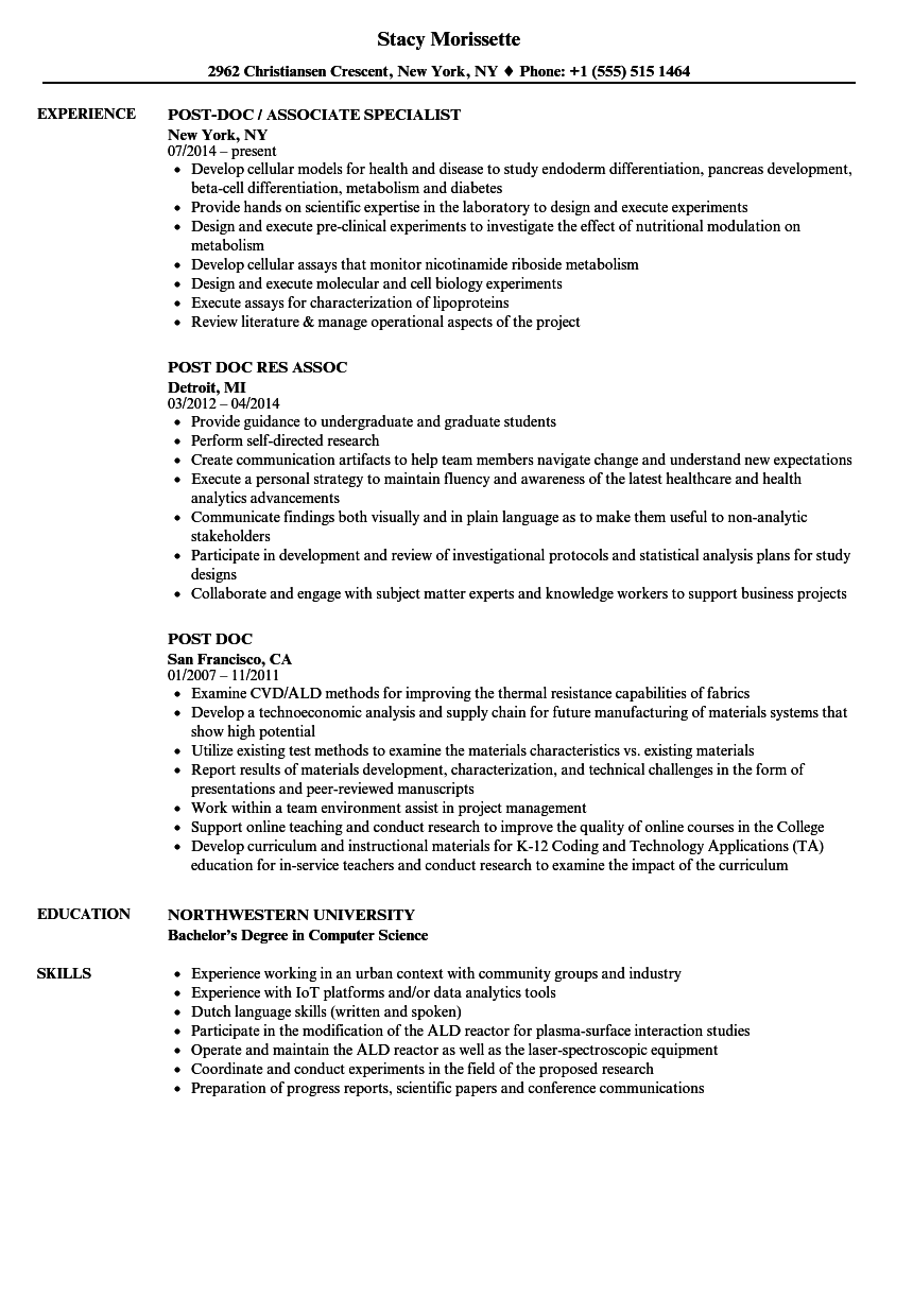 Post Doc Resume Samples Velvet Jobs