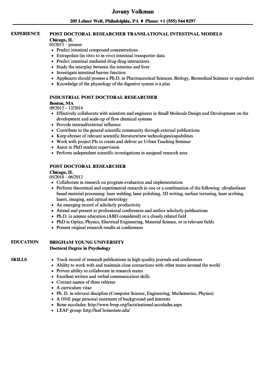 post doctoral researcher resume samples