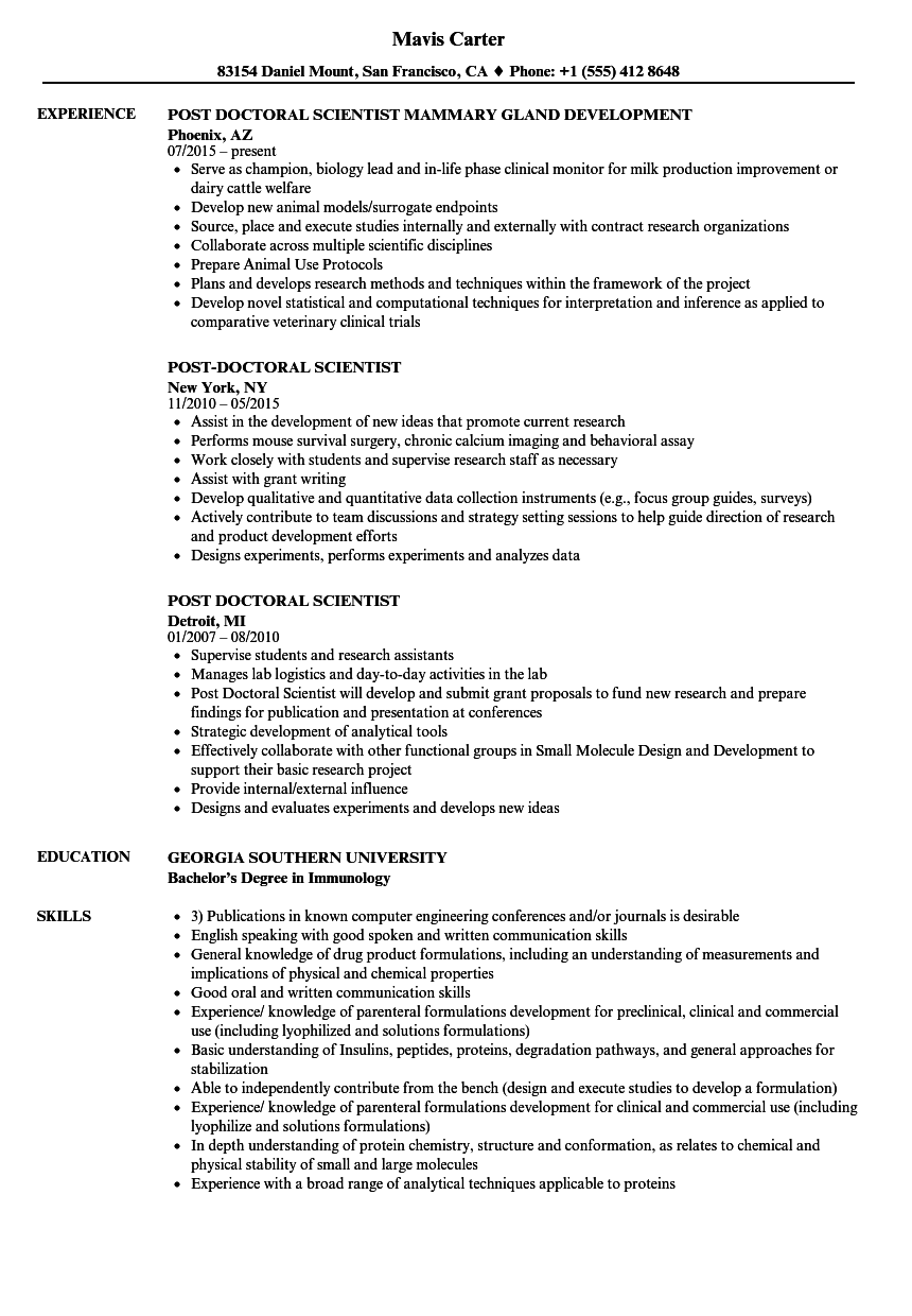 post doctoral scientist resume samples