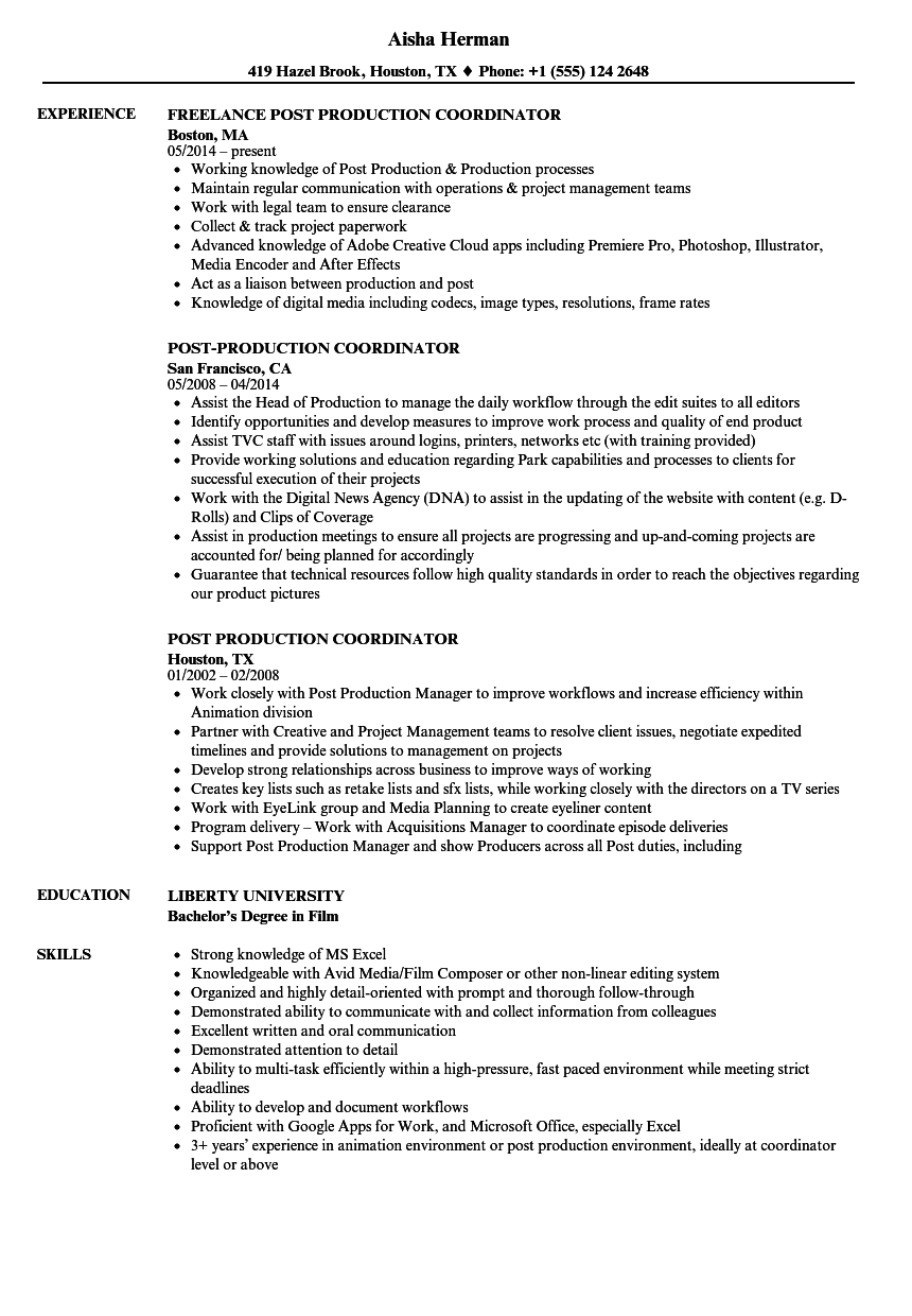 Post Production Coordinator Resume Samples | Velvet Jobs