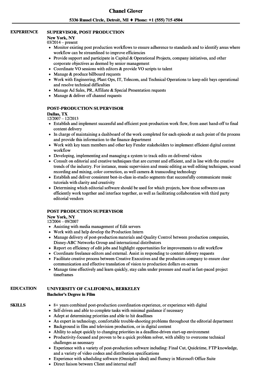 Download Post Production Supervisor Resume Sample As Image File