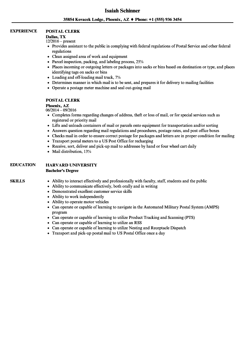Postal Clerk Resume Samples | Velvet Jobs